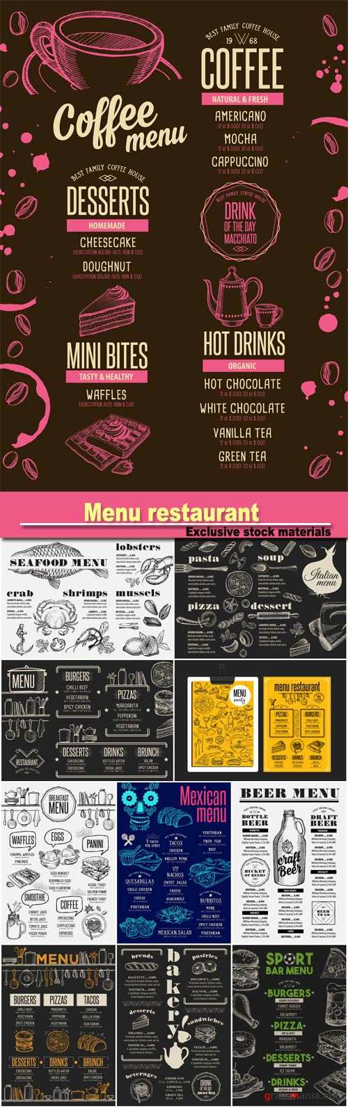 Menu breakfast restaurant, food template, beverage template, bakery restaurant