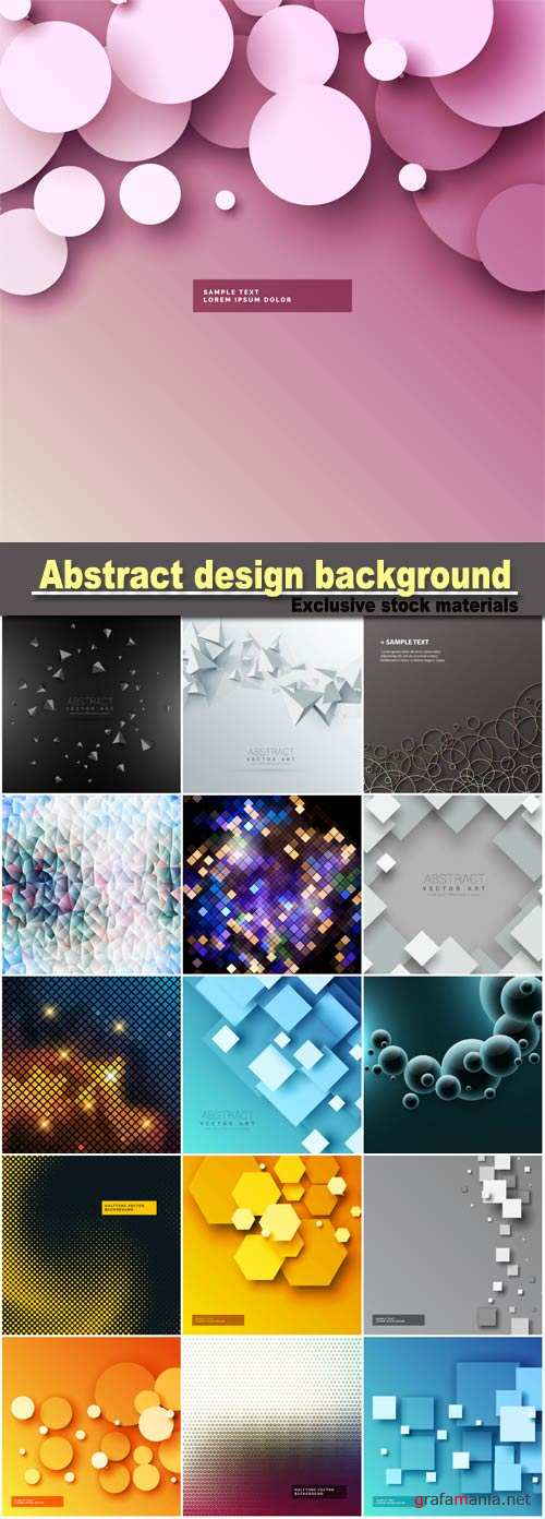 Abstract design background with geometric square shapes, 3d circles background