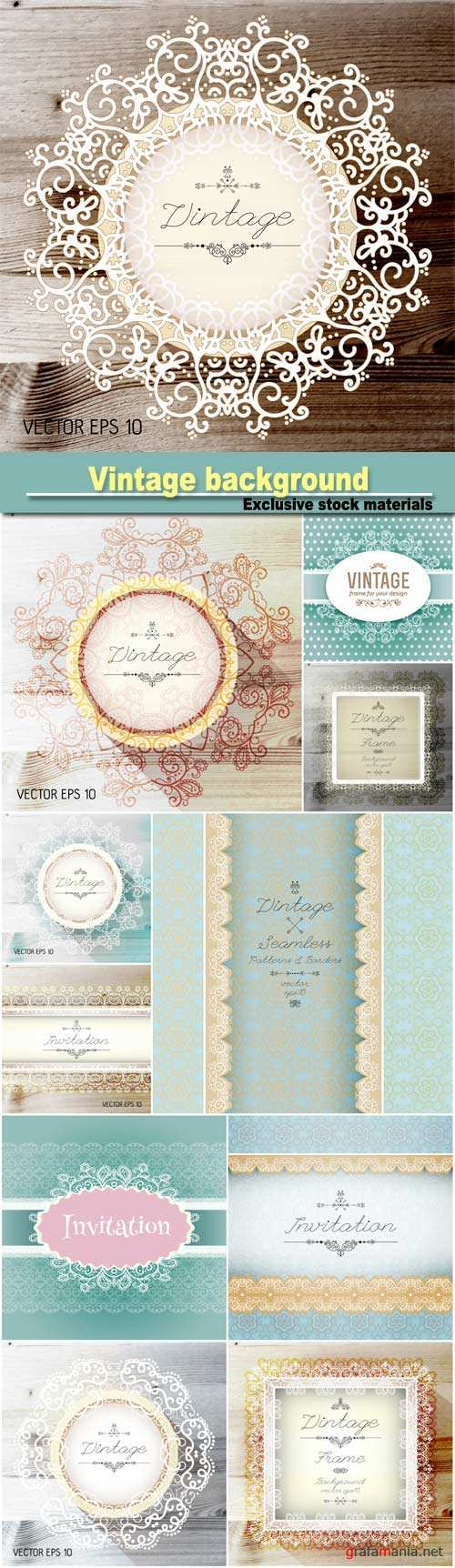 Vintage seamless background and border, invitation with lace, vector