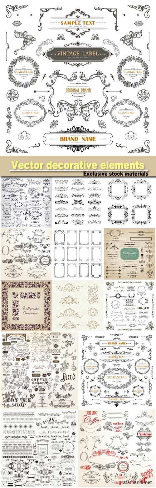 Beautiful collection of frames, decorative elements in antique style