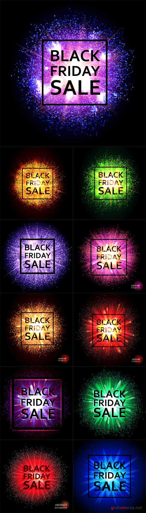 Vector Black Friday. Christmas sale, discounts. The text on the background of the cloud of explosion of light and dust