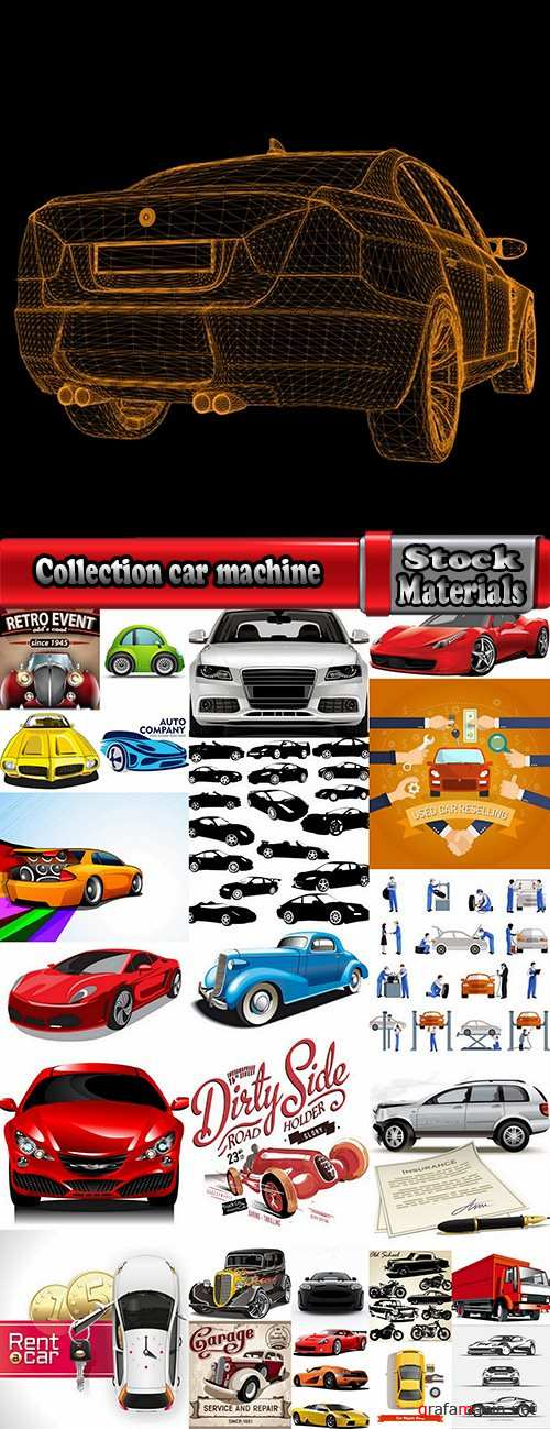 Collection car machine icon vector image 25 EPS