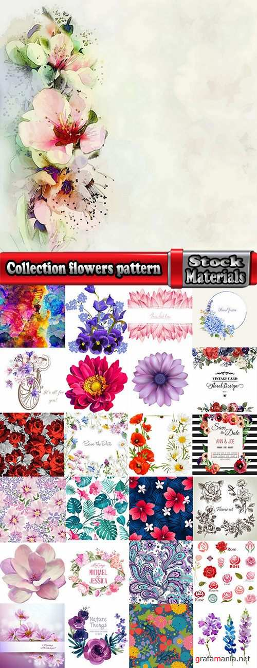 Collection flowers pattern background is a template for the pattern on the wallpaper 25 EPS