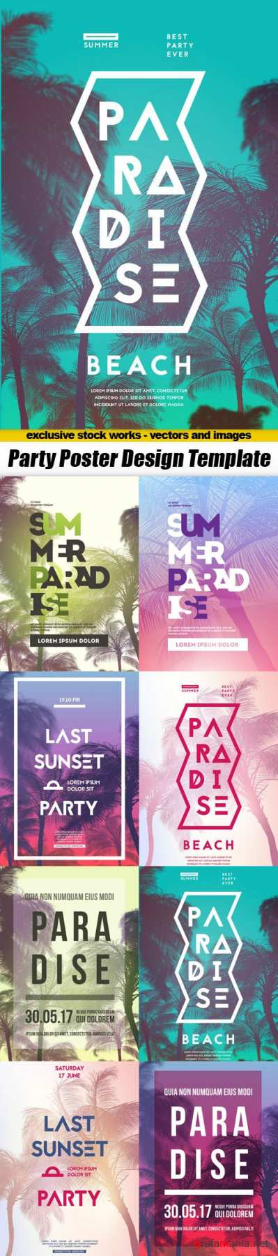 Party Poster Design Template - 8xEPS