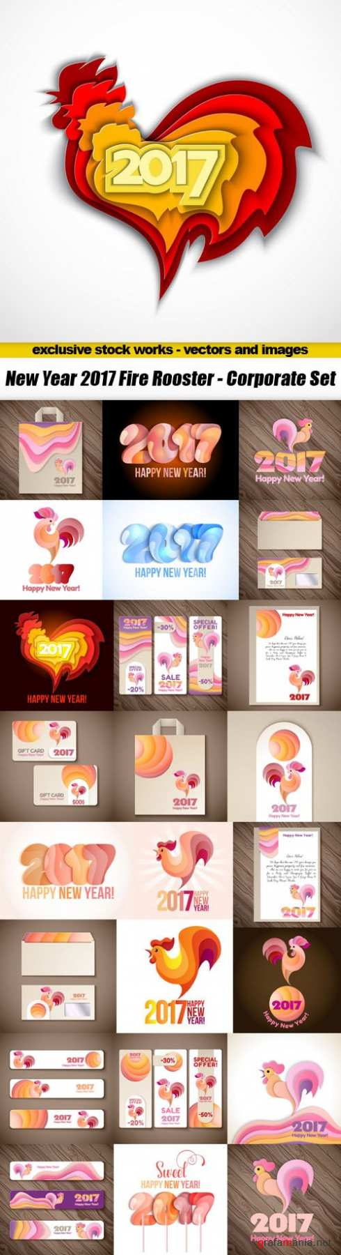 New Year 2017 Fire Rooster - Corporate Set, 25xEPS