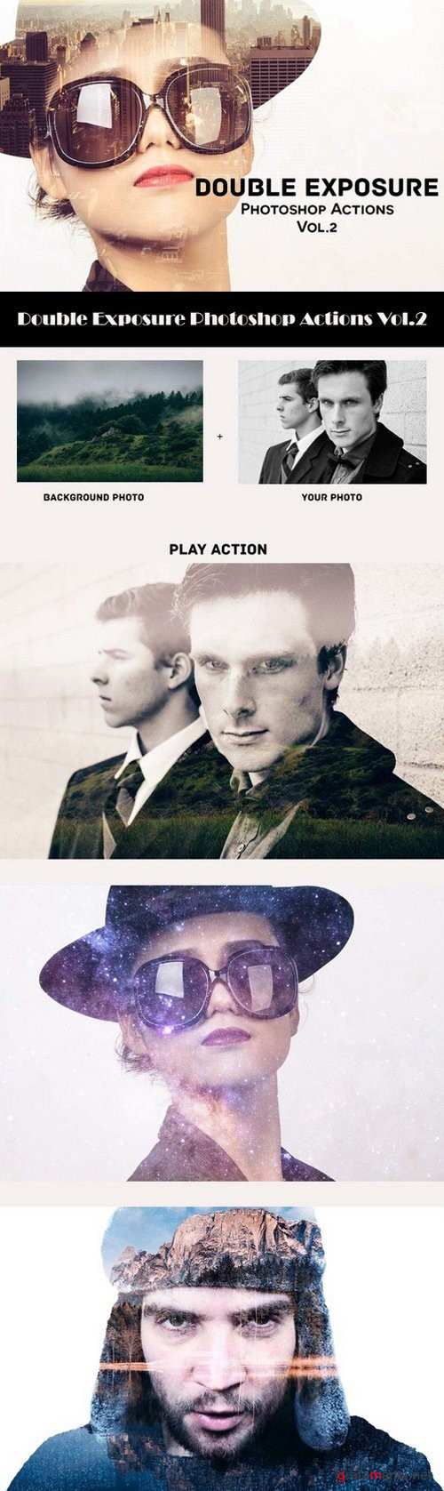 DOUBLE EXPOSURE PHOTOSHOP ACTIONS V2 - 942754