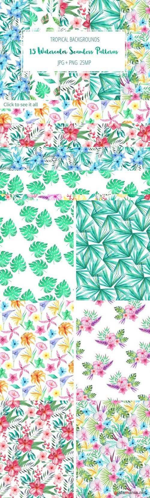 Tropical Floral Seamless Patterns - 738012