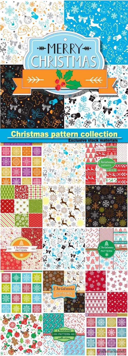 Christmas pattern collection, set with snowflakes line stile over color backgrounds, vector illustration
