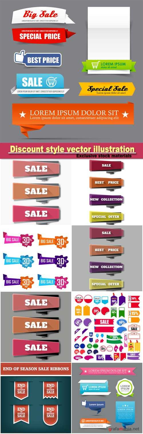 Collection of colorful web tag banner promotion sale discount style vector illustration