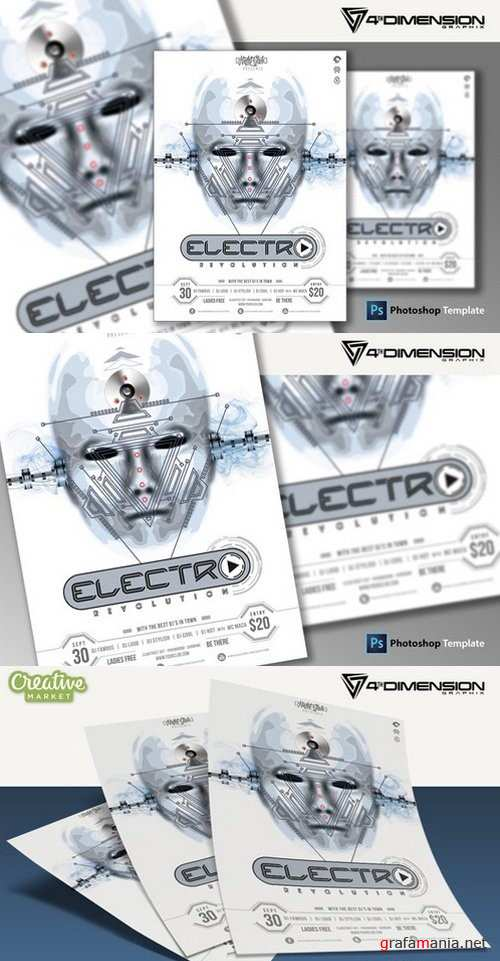 Electro Revolution Flyer Template - 923522