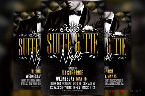 Suite and Tie Party Flyer Template - 249801