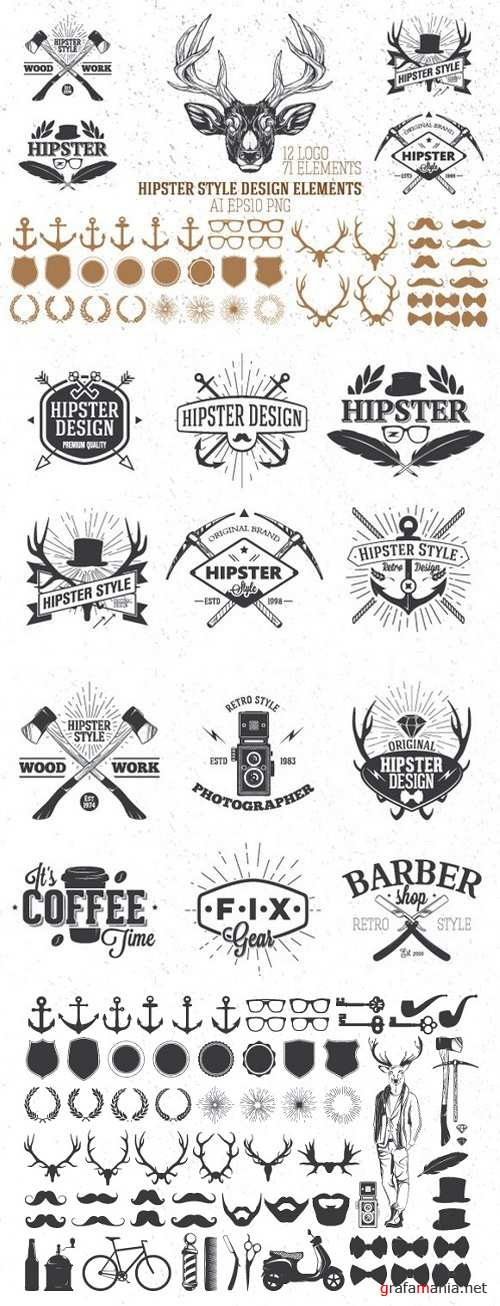 Hipster style design elements - 936471