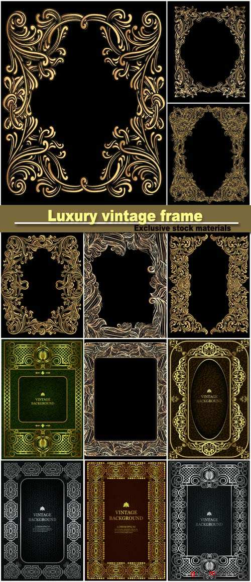 Vector luxury vintage border in the baroque style with gold floral pattern frame