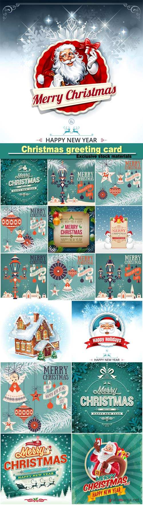Vintage Christmas greeting card with Santa Claus, calligraphic and typographic design elements
