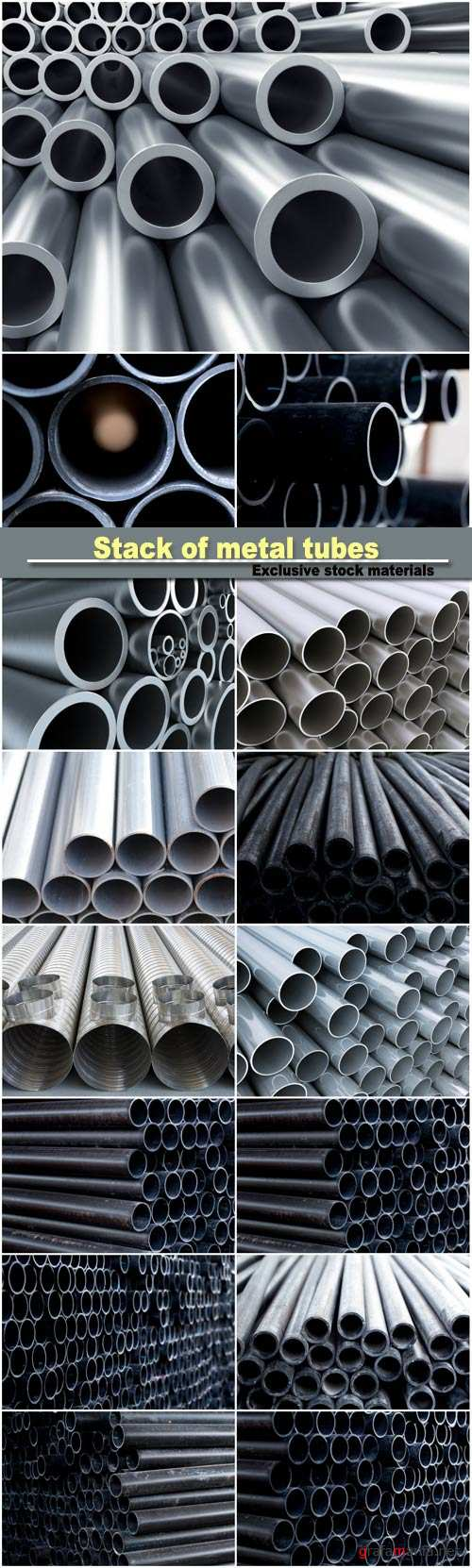 Stack of metal tubes, black pipe tube, industry quality background