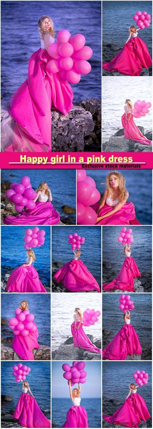 Happy girl in a pink dress with balloons is standing on the background of the waterfront