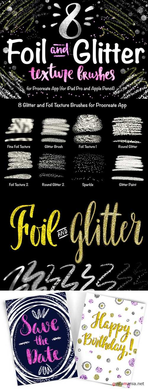 8 Foil & Glitter Procreate Brushes - 888916