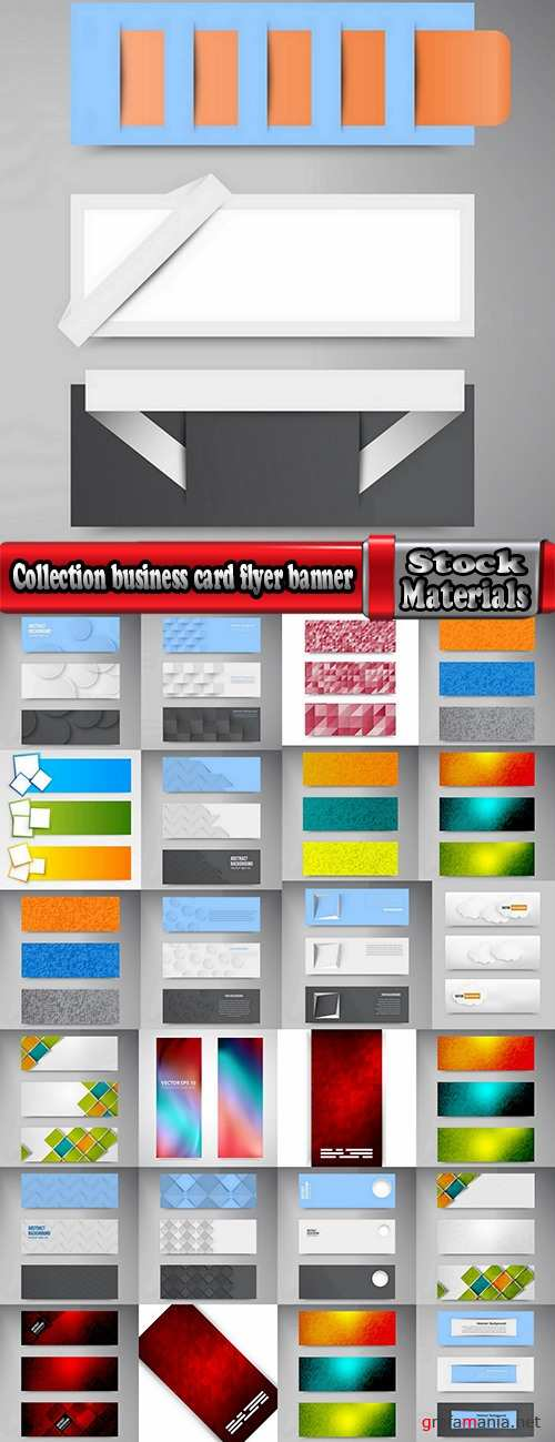 Collection business card flyer banner vector image 4-25 EPS