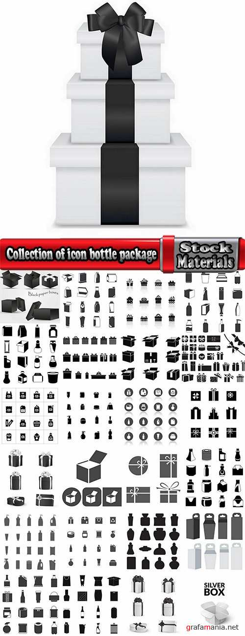 Collection of icon sticker sticker bottle bottle box package vector picture 25 EPS