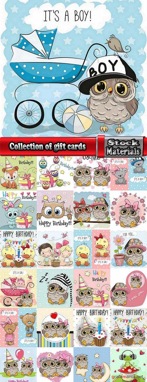 Collection of different vector image gift cards with funny cartoon animals 3-25 Eps