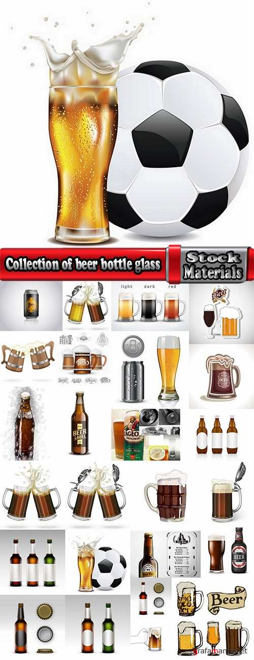 Collection of beer bottle glass of soccer vector image 25 EPS