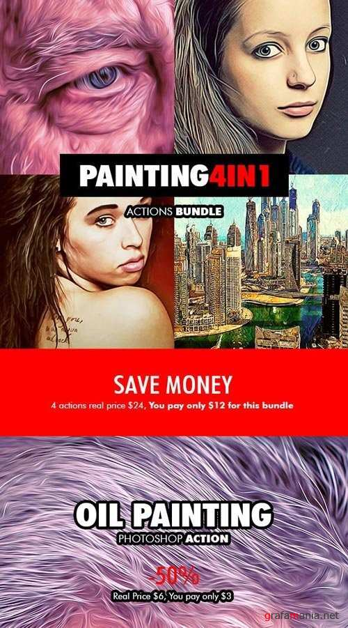 Painting - 4in1 Photoshop Actions Bundle V.1 - 18177924