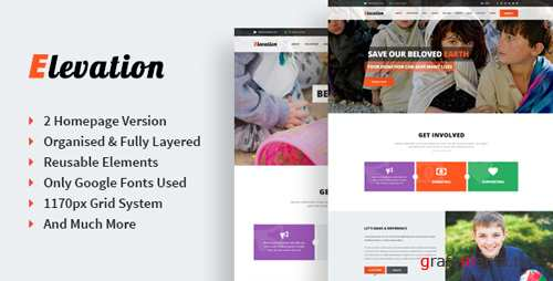Elevation - Singe Page Nonprofit & Charity PSD Template 12970071