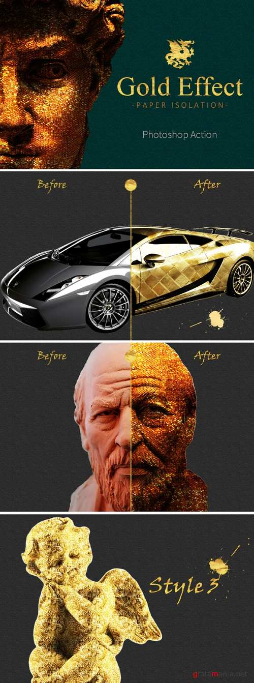 Gold Paper Photoshop Action - 916673