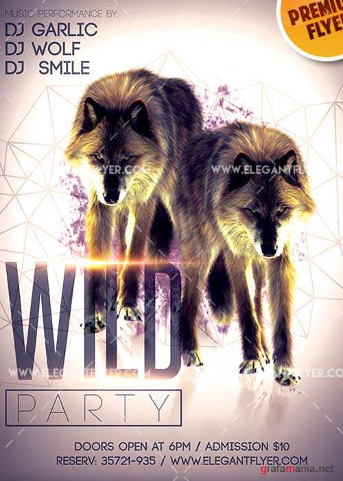 Wild Party Flyer PSD V9 Template + Facebook Cover