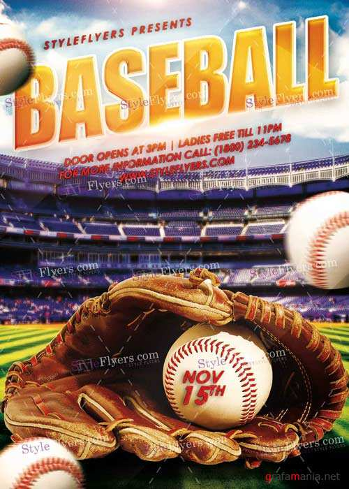 Baseball PSD V14 Flyer Template
