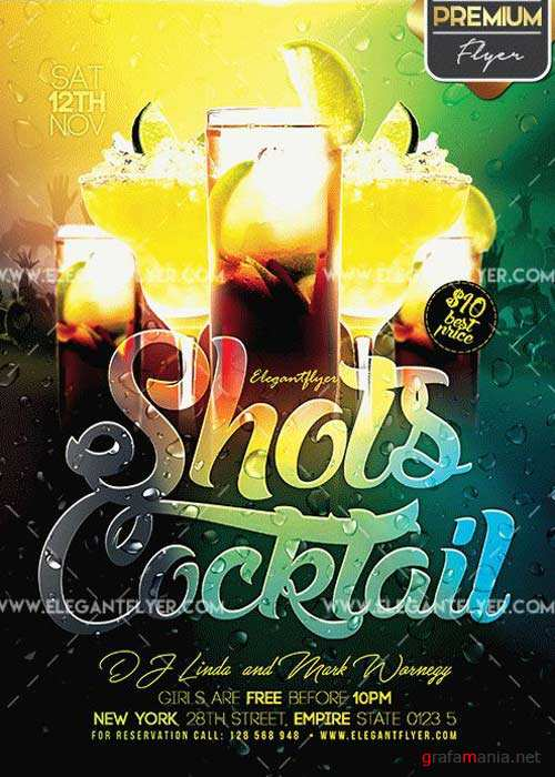 Shots Cocktail Flyer PSD V12 Template + Facebook Cover