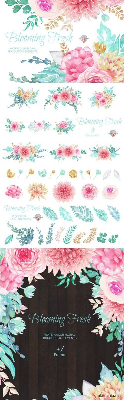 Blooming Fresh Watercolor Clipart - 450143