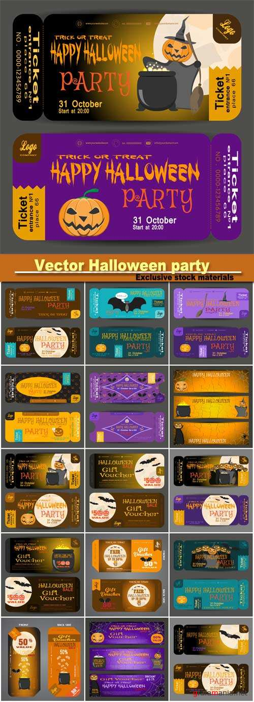 Vector beautiful ticket to a Halloween party on the dark yellow and dark lilac background