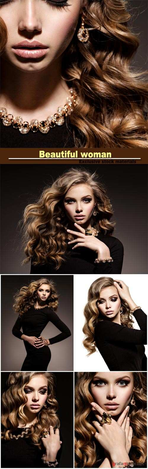 Gorgeous young girl with wavy hair and trendy makeup, beautiful gold jewelry