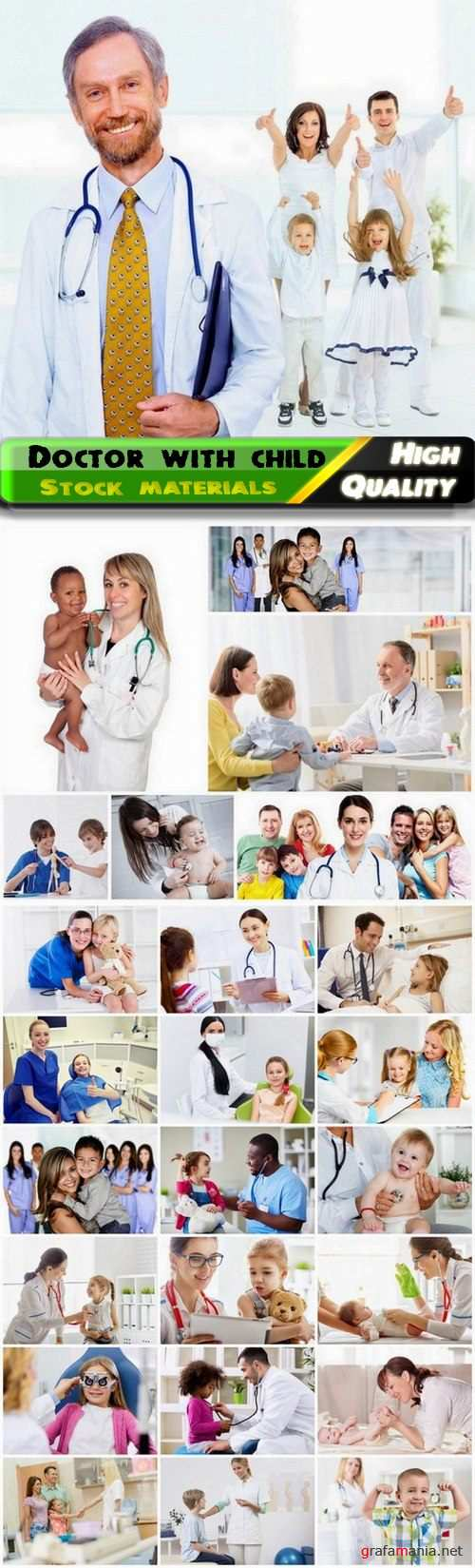Smiling doctor with child and nurse with happy kid - 25 HQ Jpg