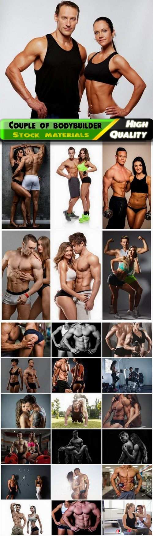 Sexy couple of bodybuilder with ideal body in gym - 25 HQ Jpg