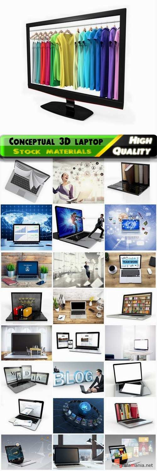 Conceptual business images with 3D laptop or notebook - 25 HQ Jpg