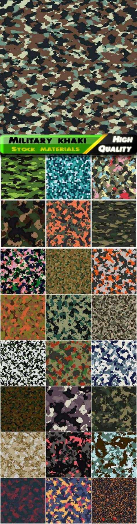 Military seamless patterns color of khaki for army camouflage - 25 Eps