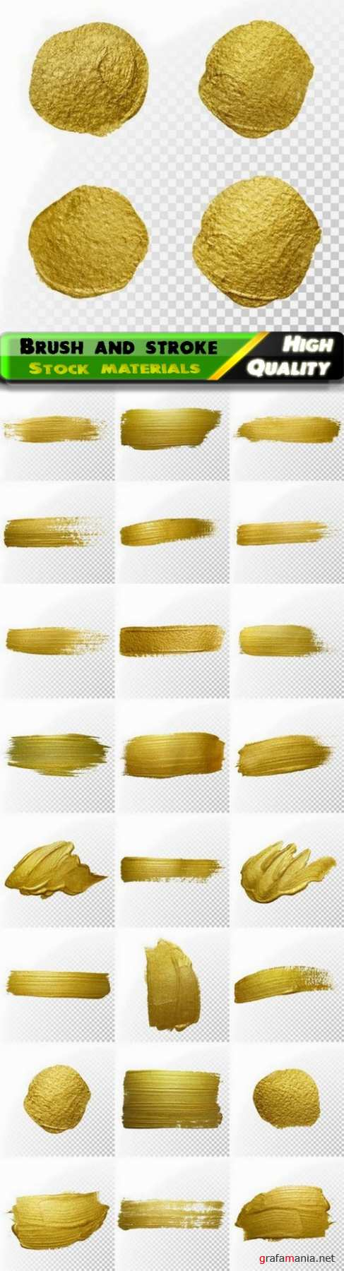 Gold paint splatter blot and brush and smear stroke stain - 25 Eps