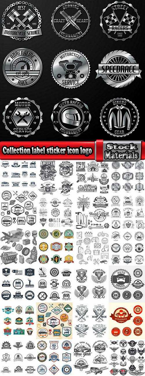 Collection label sticker icon logo the automotive themes print on clothing vector image 25 EPS
