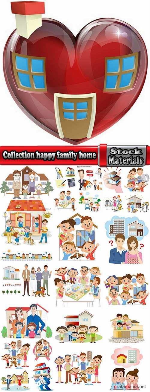 Collection happy family home occupier housing flats renting vector image 25 EPS1