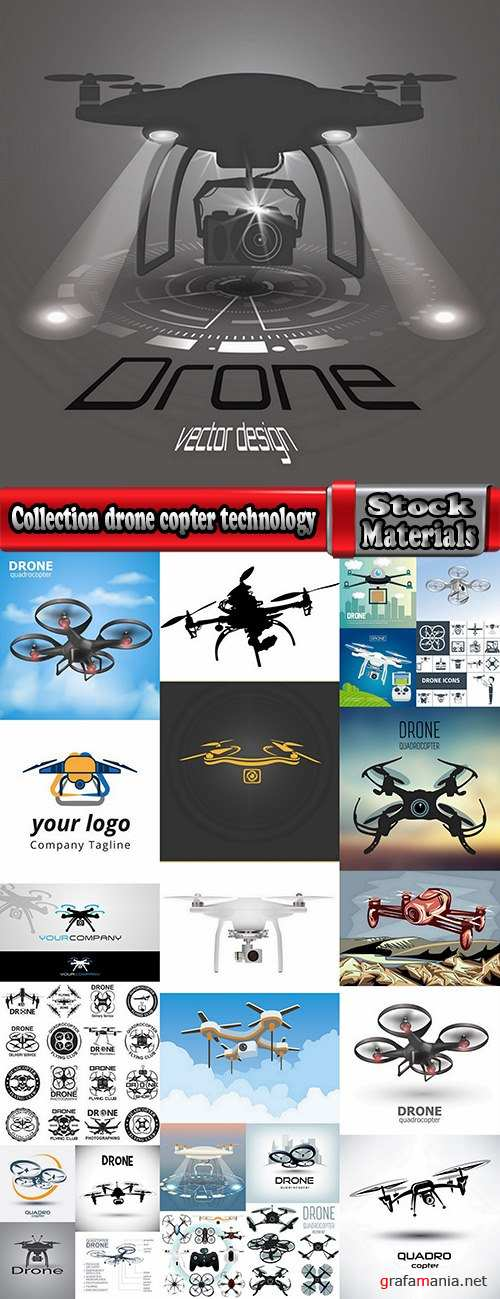 Collection drone copter technology robotics nanotechnology vector image 25 EPS