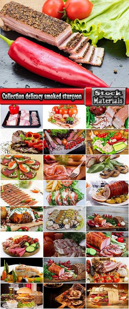Collection delicacy smoked sturgeon smoked meat gammon sausage bacon ham 25 HQ Jpeg