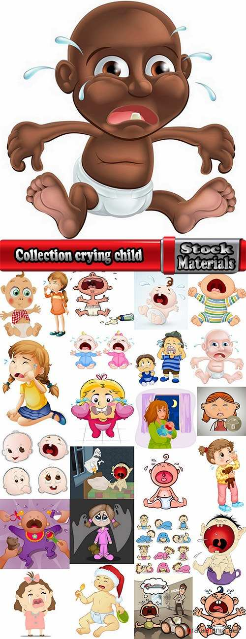 Collection crying child cartoon vector image 25 EPS