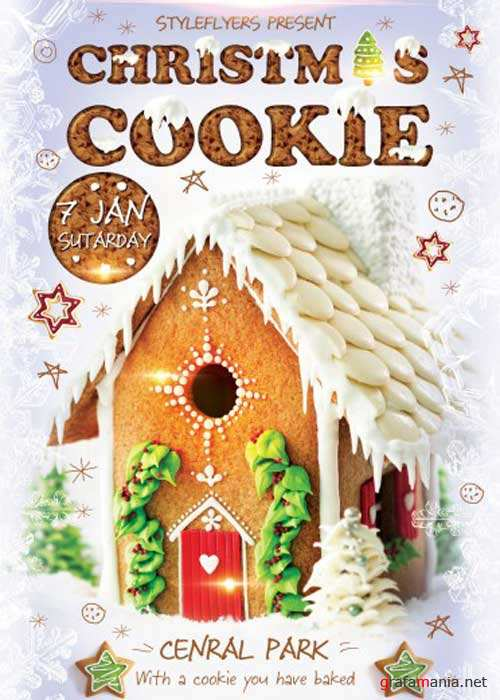 Christmas Cookie Party V4 PSD Flyer Template with Facebook Cover