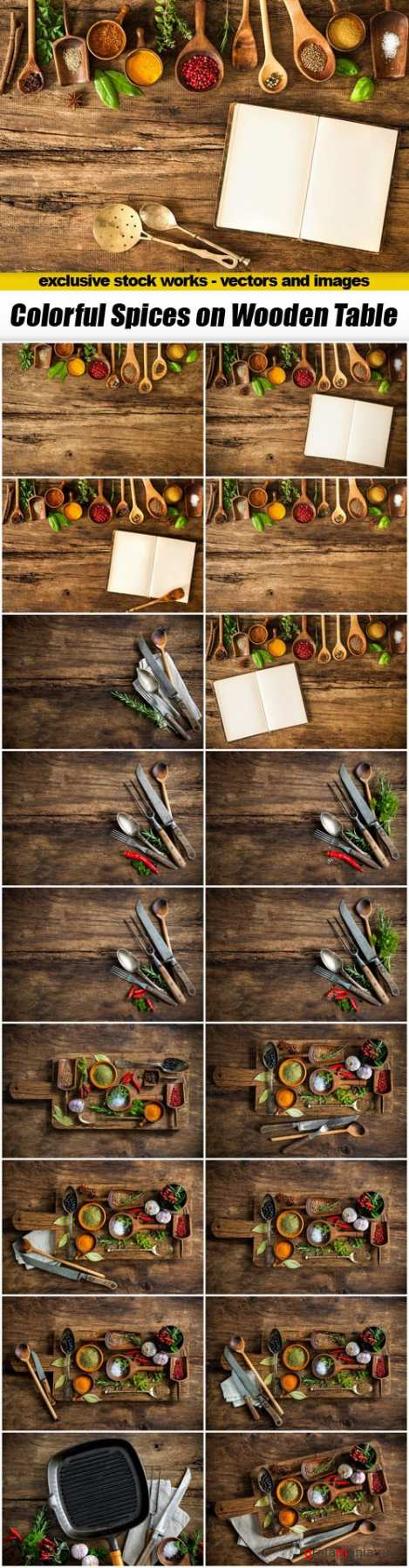 Colorful Spices on Wooden Table - 19xUHQ JPEG