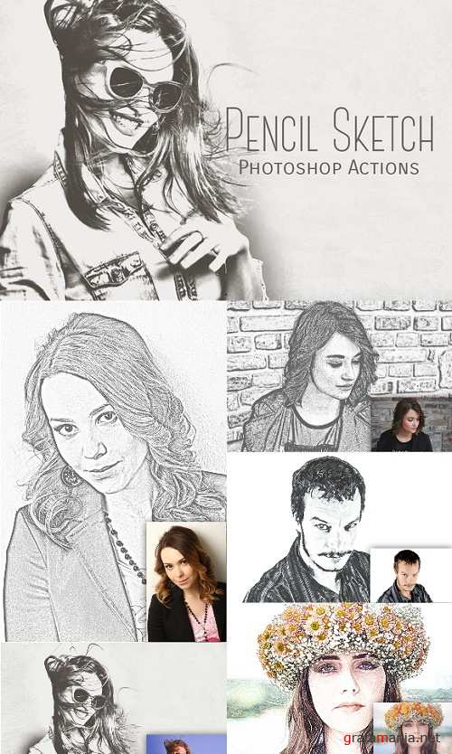 Pencil Sketch Photoshop Actions - 964352