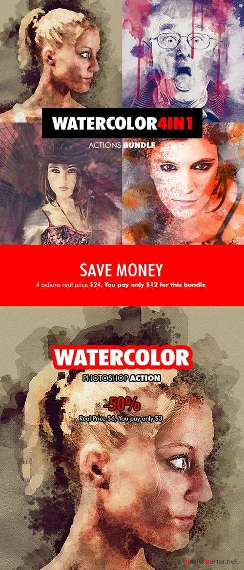 Watercolor - 4in1 Photoshop Actions Bundle V.1 - 18180095