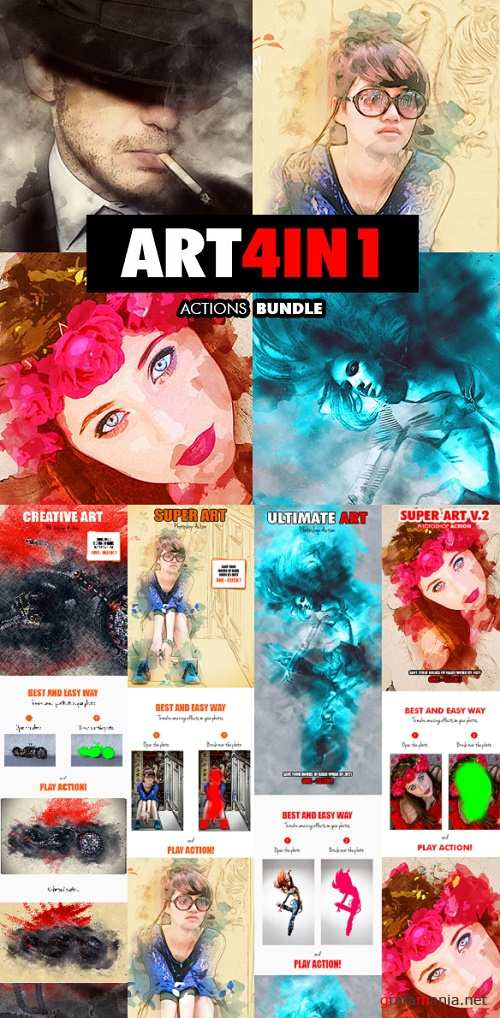 Art - 4in1 Photoshop Actions Bundle V.1 - 18186686