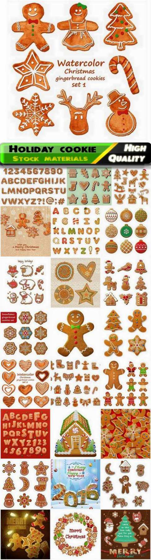 New Year and Christmas holiday sweet cookie with glaze - 25 Eps